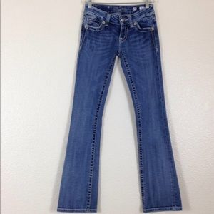 MISS ME Boot Cut Bling Cross Pocket Jeans 25